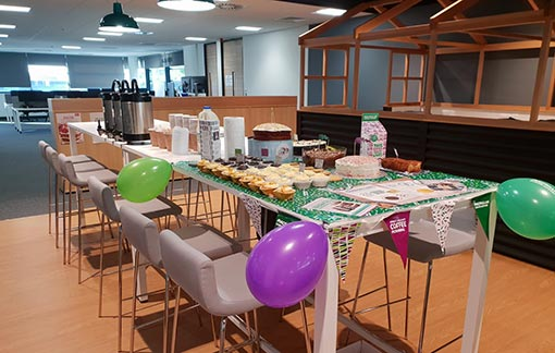Here's a picture of a contact centre coffee morning that helped to raise money for charity