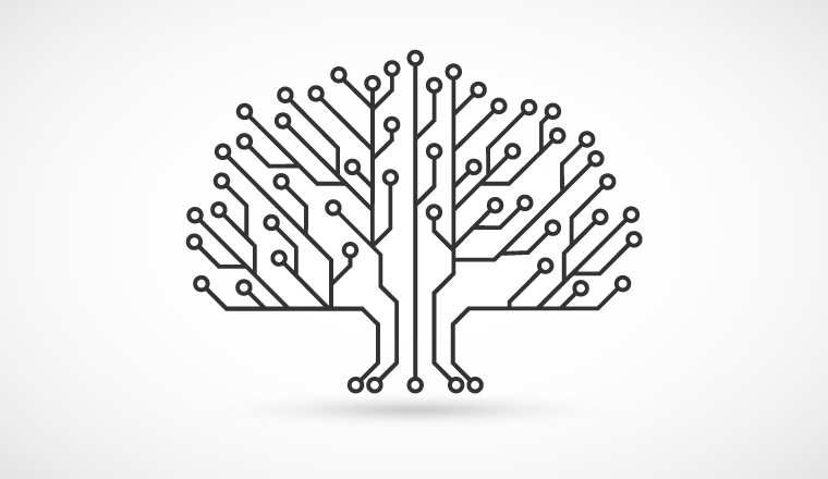 A circuit board that forms the shape of a tree
