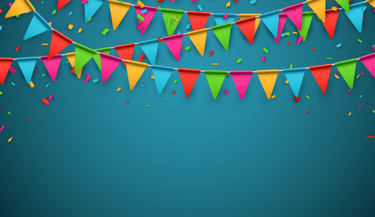multicoloured bunting and confetti