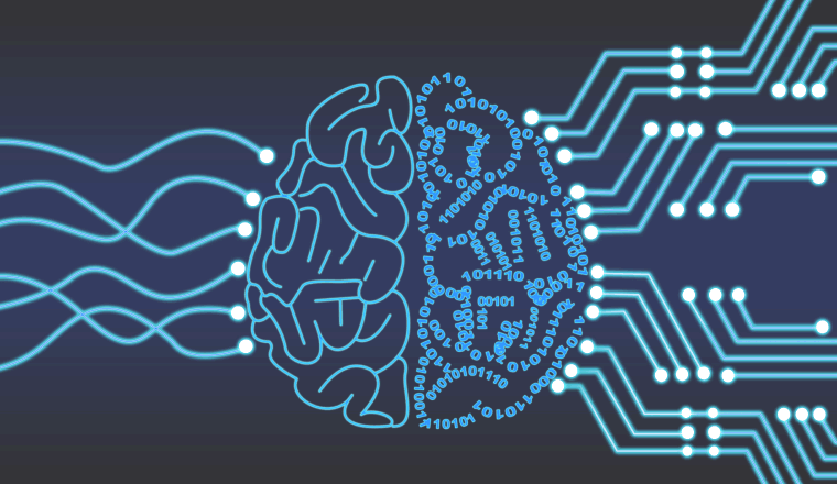 A digital vector of a brain and circuit boards