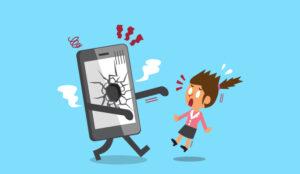 An illustration of a broken phone walking toward an alarmed lady