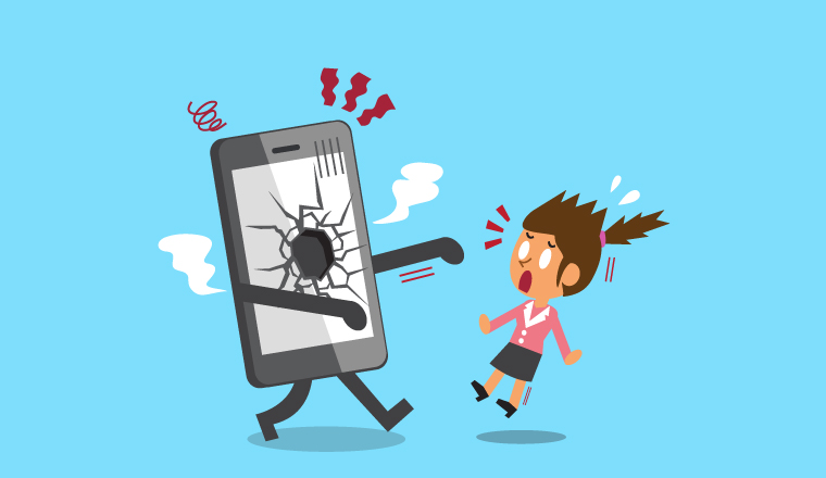 An illustration of a broken phone walking toward an alarmed lady