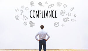 compliance concept on white background with scheme drawn icons