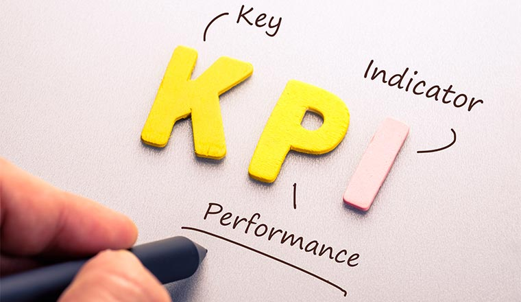 Wood letter of KPI abbreviation with hand writing definition