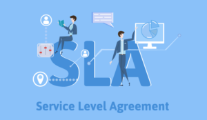 Service level agreement in large letters with a lady using technology next to it