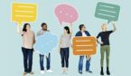 Group of people holding speech bubbles