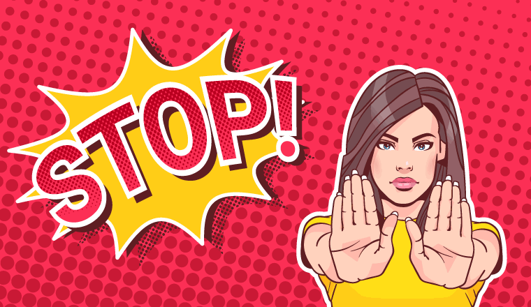 A pop art style woman holds her hands out with a massive stop sign