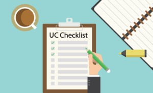 An animated hand checks off boxes on a UC checklist