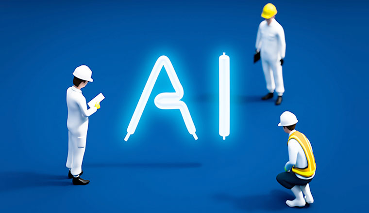 3 toy men look at the letters AI written in lightbulbs