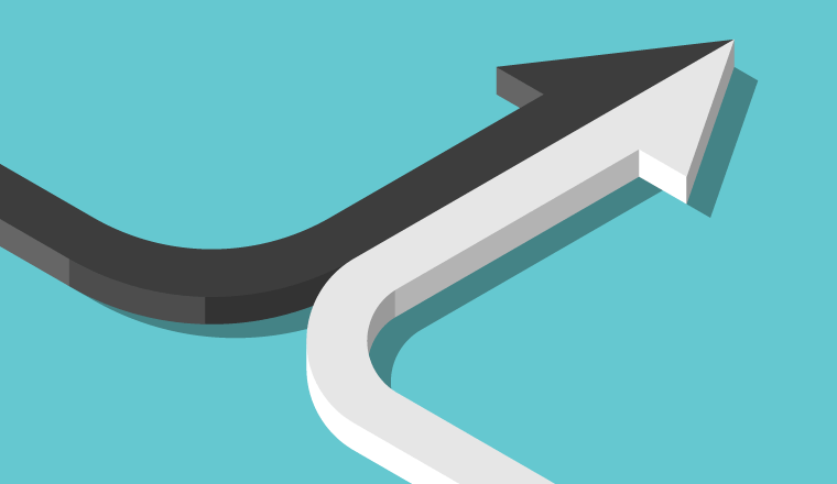 A black and a white arrow merge to make a single joined arrow