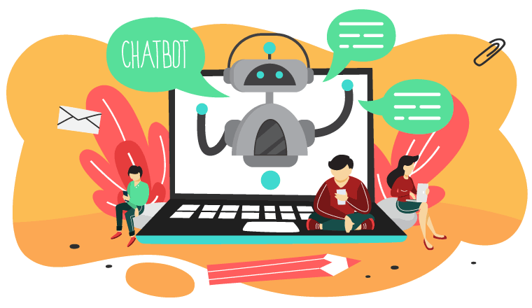 People are sat on a laptop controlled by a chatbot.