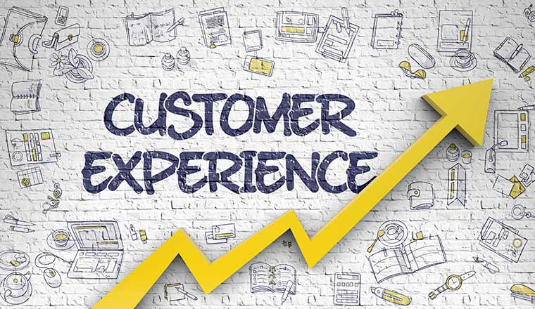 A graphic showing an upwards trend line under the words customer experience