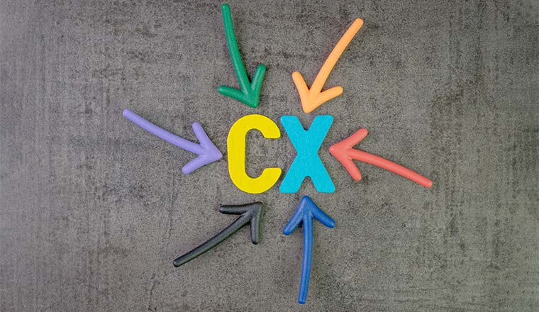 colorful arrows pointing to alphabet CX at the center of chalkboard