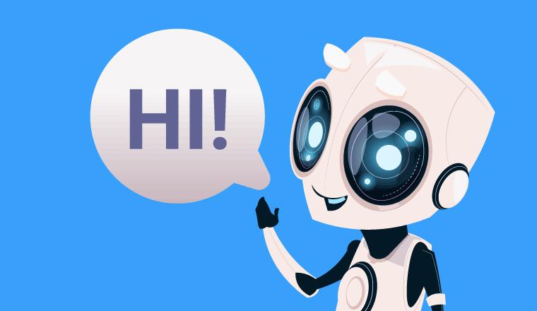 A small white robot says hi