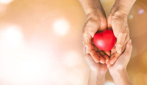 A young and old pair of hands hold a heart together