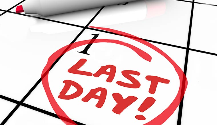 A calendar date of the 1st with last day circled in red