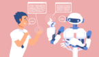 A robot and a man have a conversation