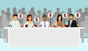 A panel of people holding up signs with 5 on them