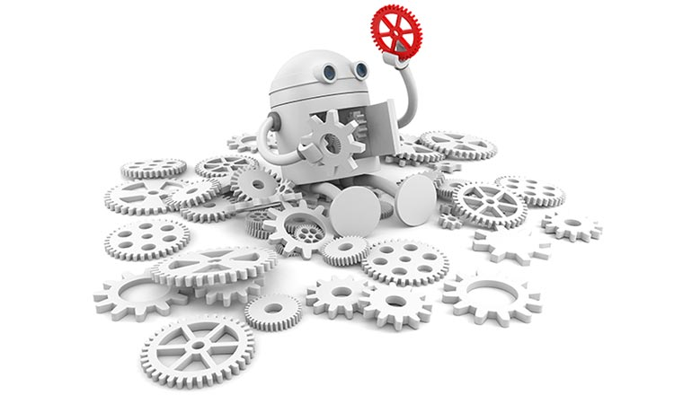 Broken robot with details of its mechanism.
