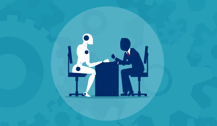 A robot facing a man over a desk