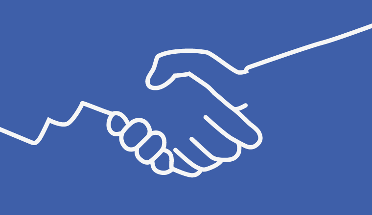 outline of a handshake