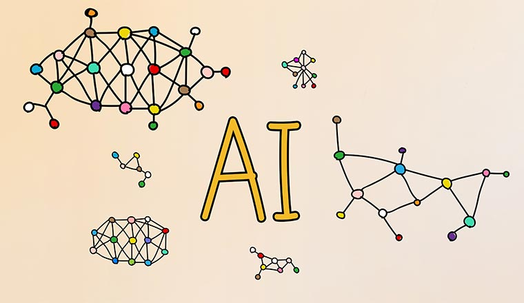 The word AI is surrounded by networks