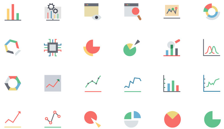 A number of graph icons