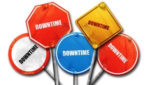 Collection of signs saying downtime