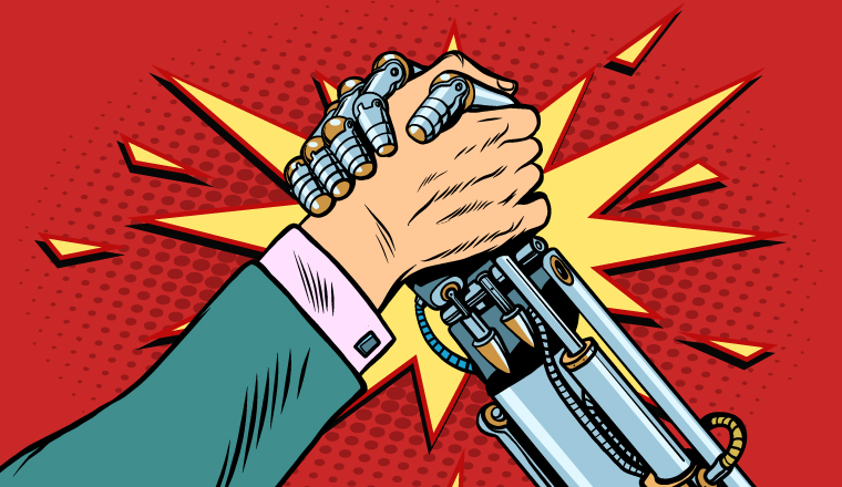 A cartoon of two arms engaged in an arm wrestle, one is a robot arm and one is a human arm.