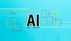 The words AI on blue background with some coloured squares decoration