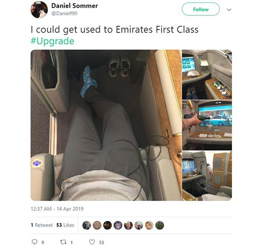 An Emirates passenger particularly enjoyed his first-class upgrade on a recent flight.