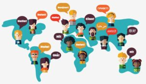 A map of the world with people saying hello in their language