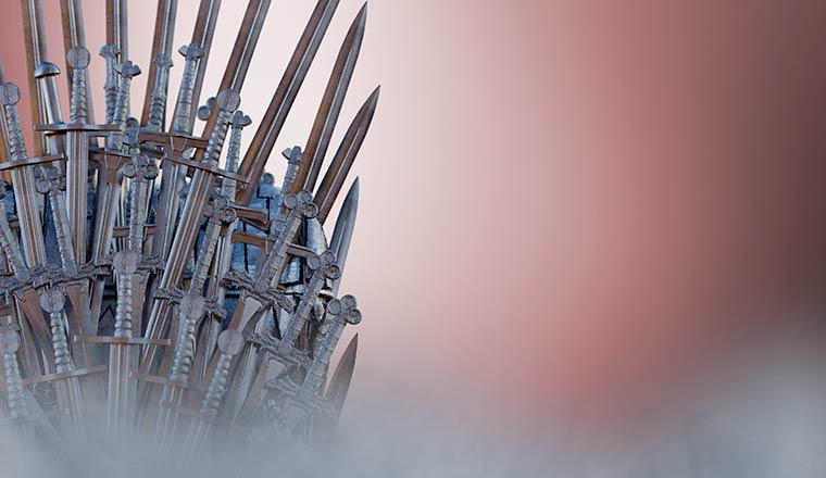 Metal knight swords thrones background.