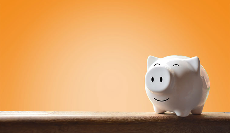 A happy looking money bank shaped like a pig