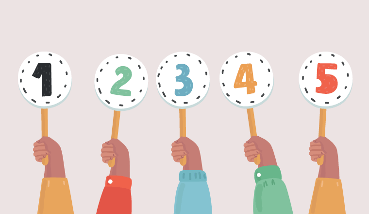 Three hands hold up marker paddles with the numbers one to five on them