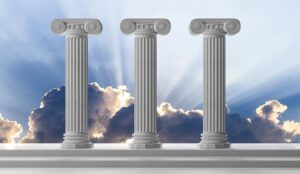 Three marble pillars of sustainability on blue cloudy sky background