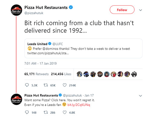 Pizza Hut had an amusing back-and-forth with Leeds United on Twitter.