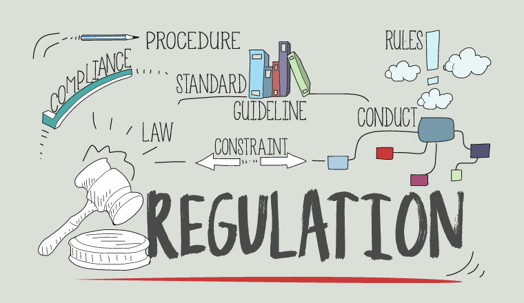A graphic with the words procedure, compliance, standard, guideline, rrules,conduct,constraint,law and regulation all connected together wit arrows.