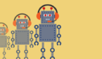 Three robots are wearing headsets