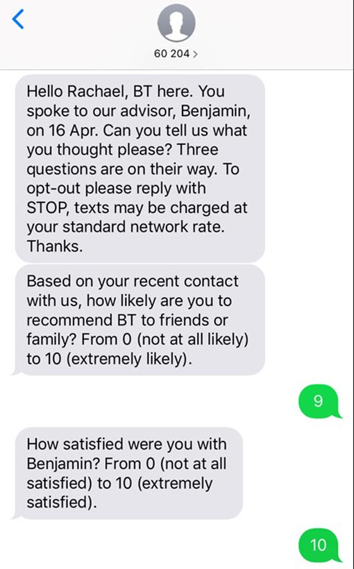 A picture of a SMS survey BT send to customers