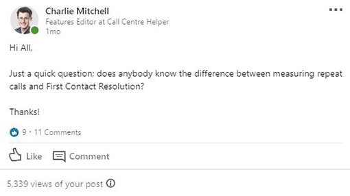 A screenshot of a question posted on the Call Centre Helper LinkedIn group