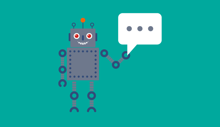 A picture of a robot holding a speech bubble