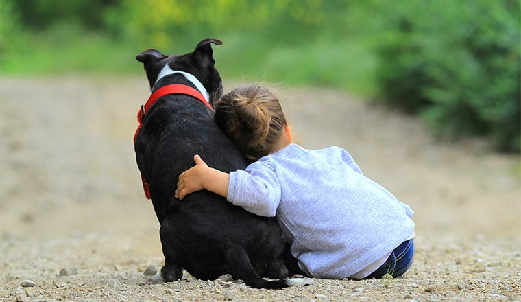 A photo of a child hugging a dog