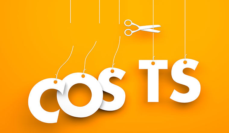 "A picture of some scissors cutting the word ""costs""."