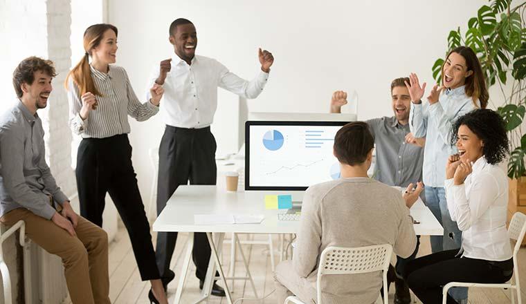 A photo of an office celebration