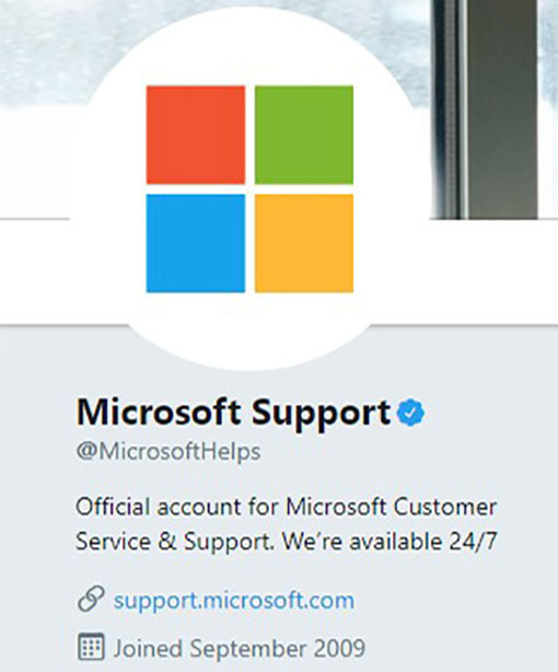 A picure of the Microsoft Support Twitter page
