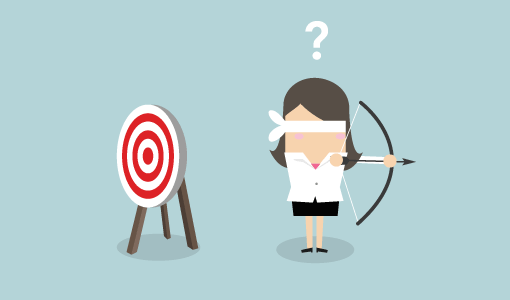 A picture or a blindfolded businesswoman missing the target with an bow and arrow