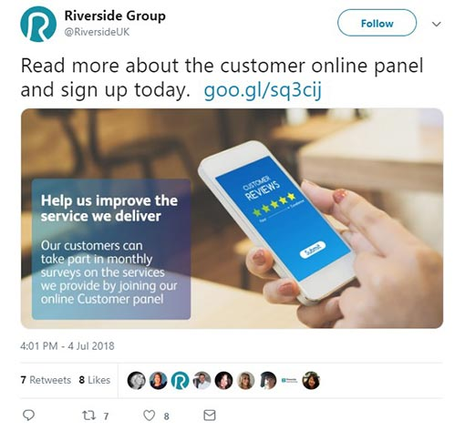 A screenshot of a tweet to join a customer panel from Riverside Group