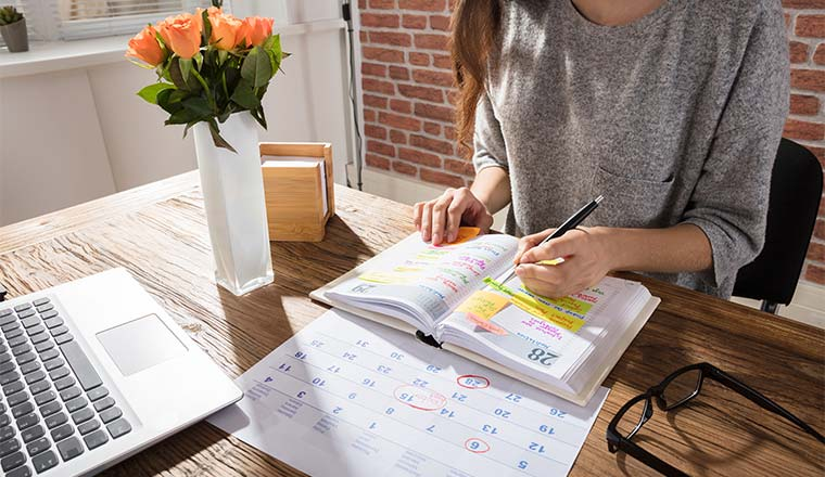 A photo Businesswoman Making Agenda On Personal Organiser At Workplace