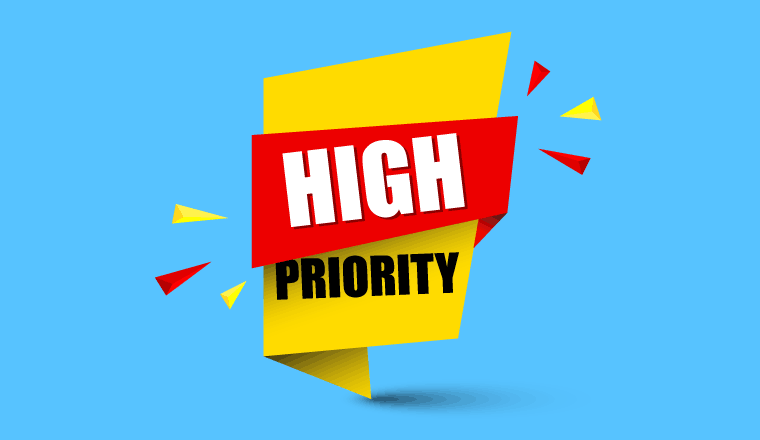 """A signshowing the words """"High Priority"""""""